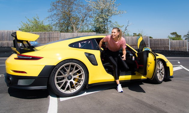 Maria Sharapova of Russia at the Weissach test track ahead of the 2018 Porsche Tennis Grand Prix