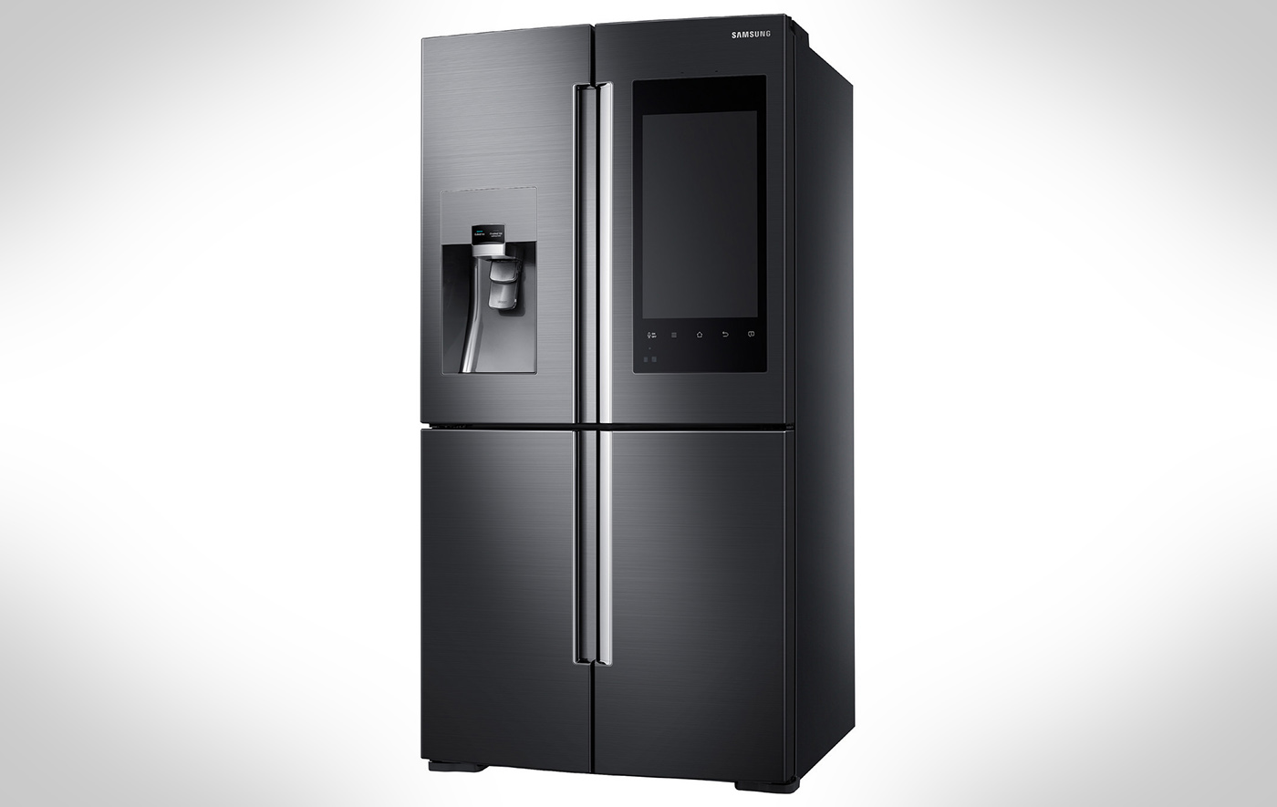 samsung 39 s latest smart fridge has cameras and a huge display. Black Bedroom Furniture Sets. Home Design Ideas