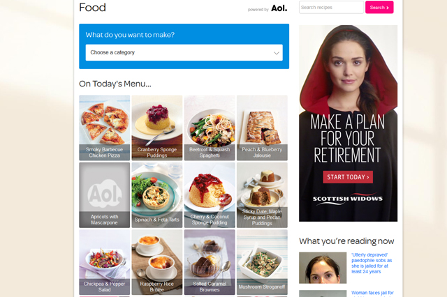 AOL Food homepage