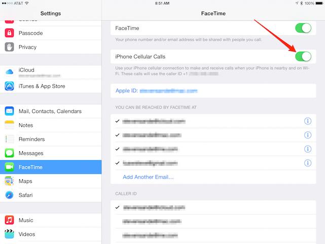 iPad FaceTime Settings, iOS 8