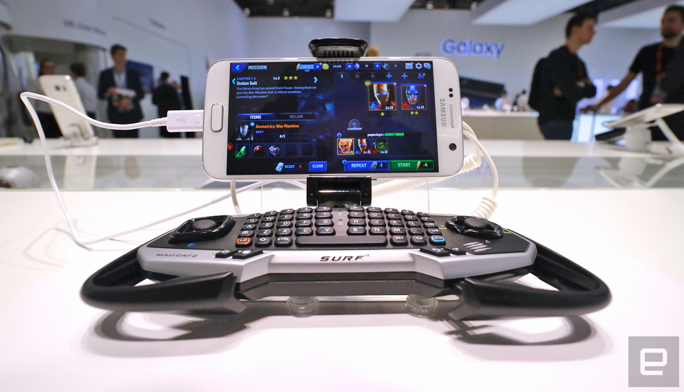 来看看 Mad Catz 为 Galaxy S7、S7 Edge 打造的 S.U.R.F.R 键盘手柄