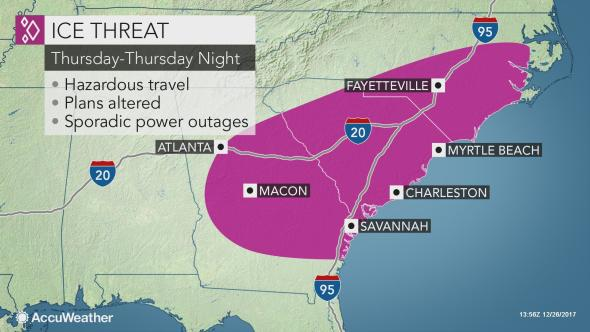 Ice may glaze roads in southeastern US Thursday Thursday night