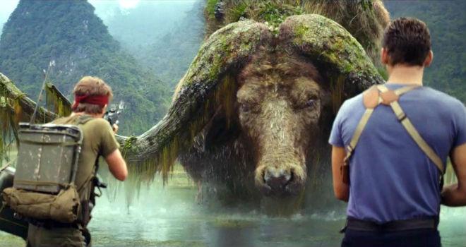 Captain James Conrad (Tom Hiddleston) encounters a water buffalo in KONG: SKULL ISLAND