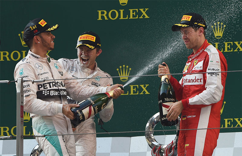 The podium celebration at the 2015 Chinese F1 Grand Prix.
