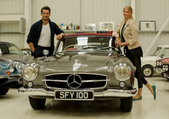 Jodie Kidd and a Mercedes