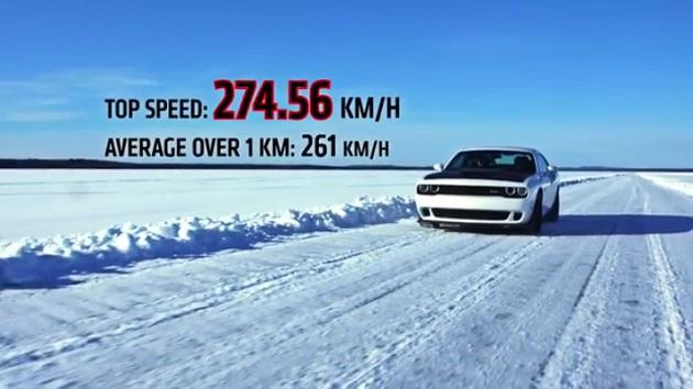 707馬力のダッジ「チャレンジャー SRT ヘルキャット」が、氷上の最高速度記録に挑戦!