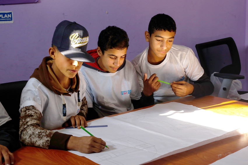 Boys take part in a the Safer Cities project where they learn to treat girls and women with