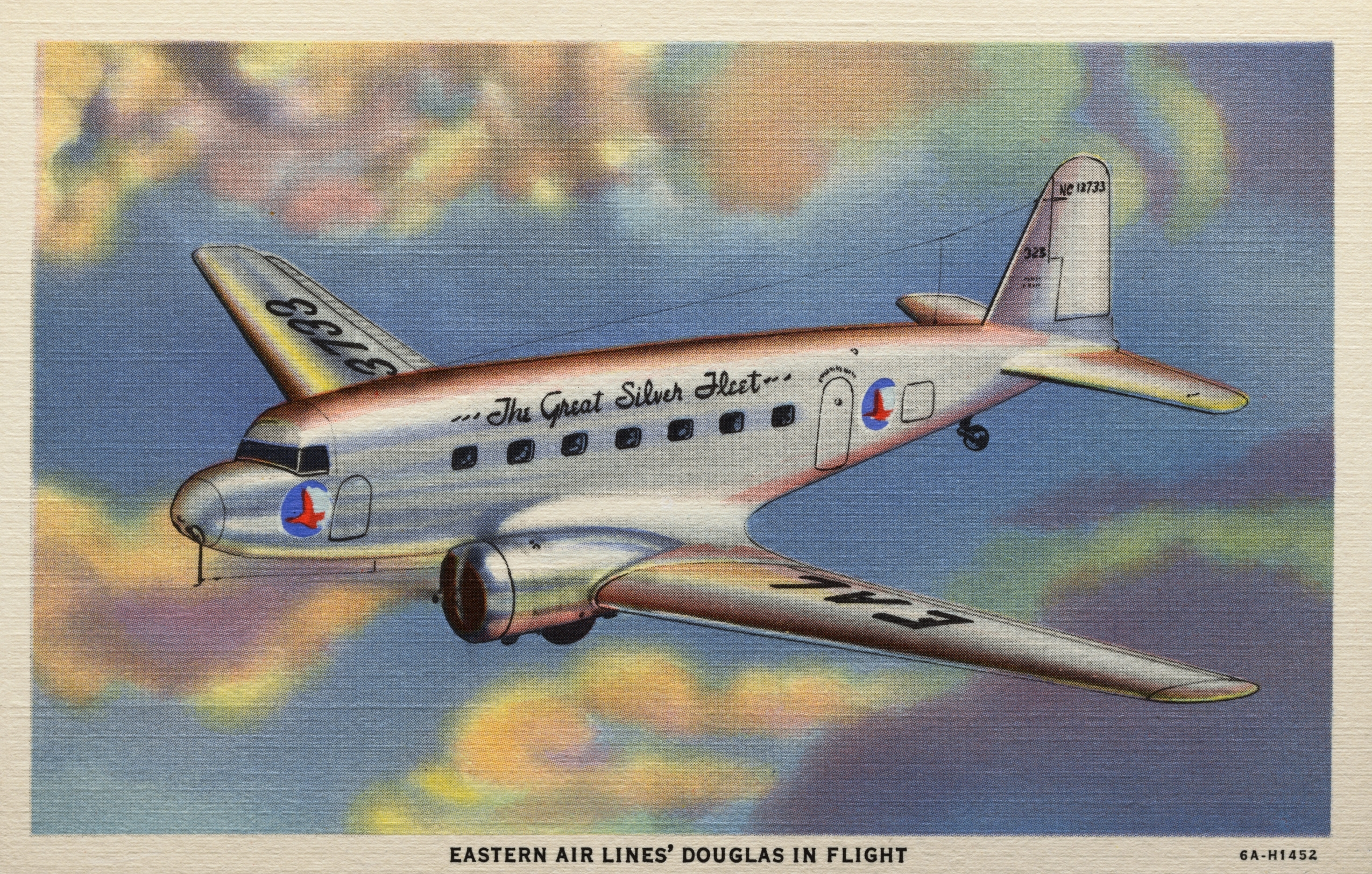 Eastern Airlines Douglas Plane. ca. 1936, USA, EASTERN AIR LINES' DOUGLAS IN FLIGHT. Travel at three miles a minute in easy-chai