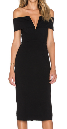 Ponti Shoulder Band V Dress by Nicholas