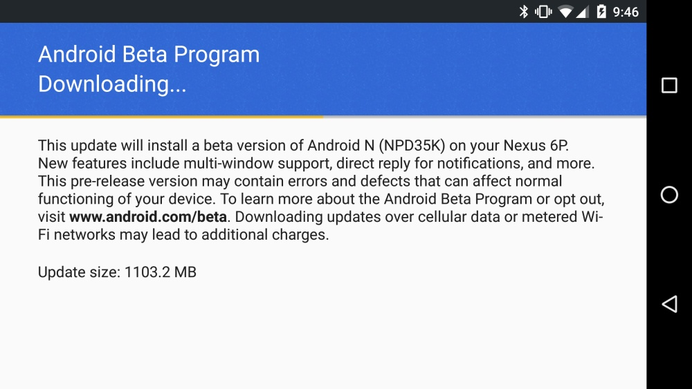 Android N updater on a Nexus 6p