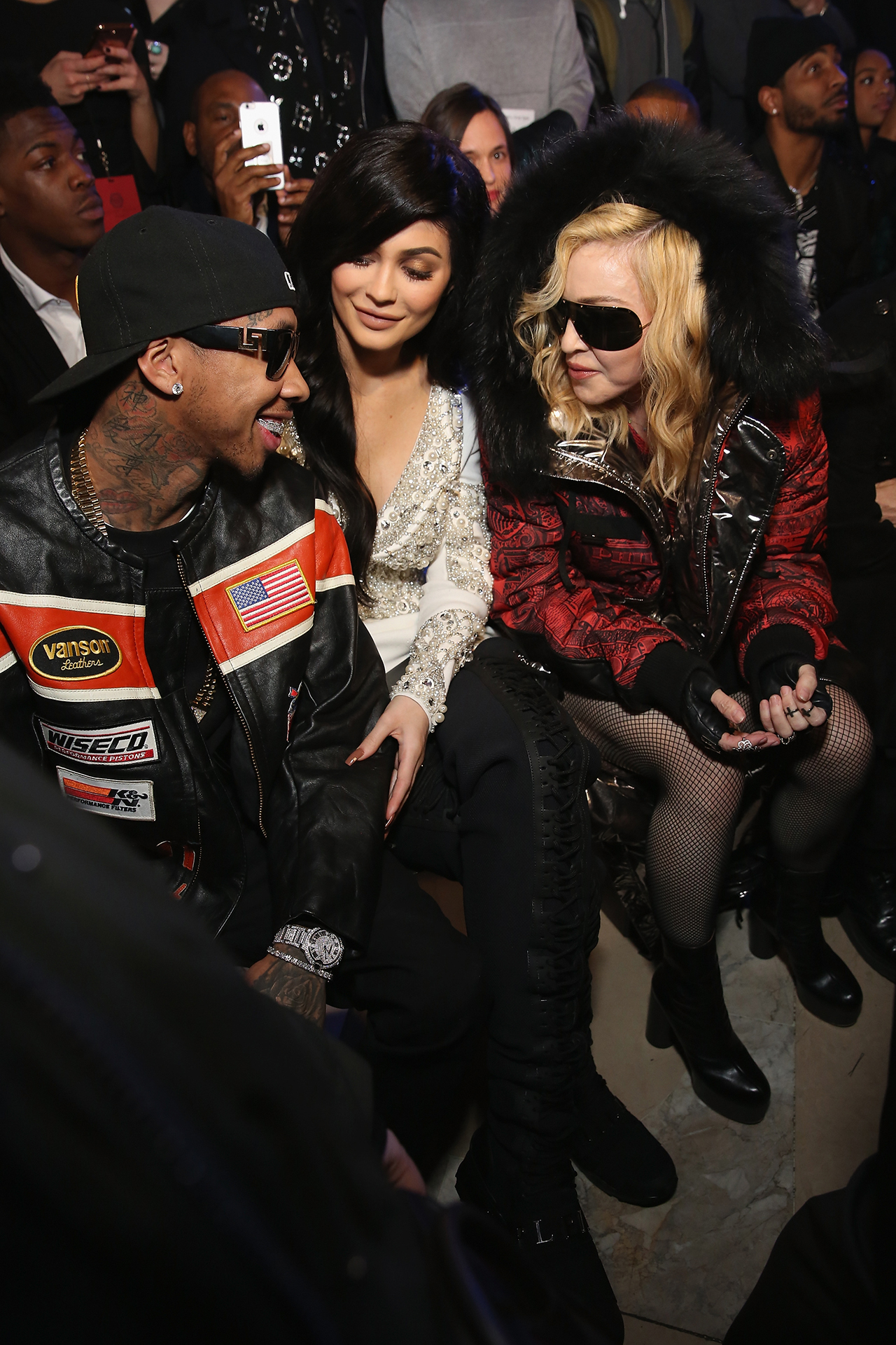 NEW YORK, NY - FEBRUARY 13: Tyga, Kylie Jenner, and Madonna attend the Philipp Plein collection during, New York Fashion Week: The Shows at New York Public Library on February 13, 2017 in New York City.  (Photo by Monica Schipper/Getty Images for New York Fashion Week: The Shows)