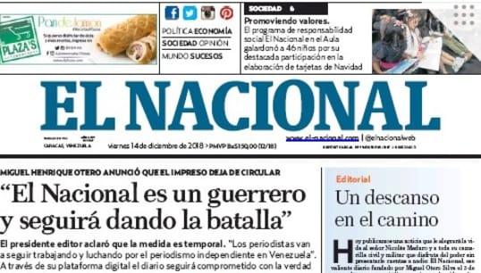 📹 El diario venezolano El Nacional es presionado a salir de circulación