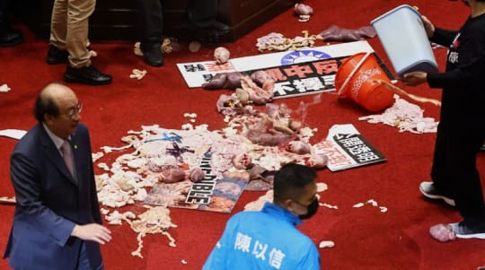 Fists and pig guts fly in Taiwan debate on U.S. pork