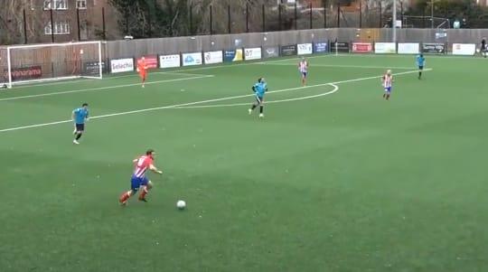 Dorking footballer's 'pirouette' delights commentator