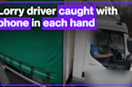 Truck driver caught wearing no seatbelt while driving along with phone in each hand