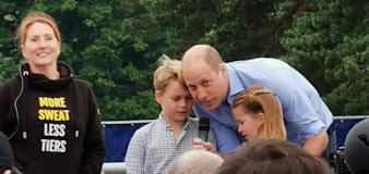 William, George and Charlotte appear at running event on Father's Day