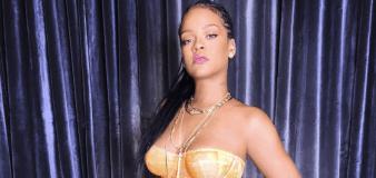 Rihanna serves looks in bright orange lingerie