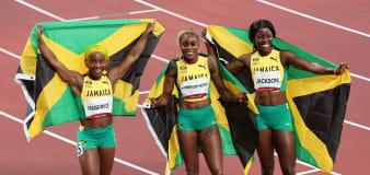 Thompson-Herah sets mark, Jamaica sweeps women's 100