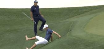 Billy Horschel slips and slides to an impressive par