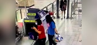 Train station staff member gets rolled into security scanner