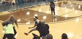 Youth basketball game ends with spectator body slamming ref