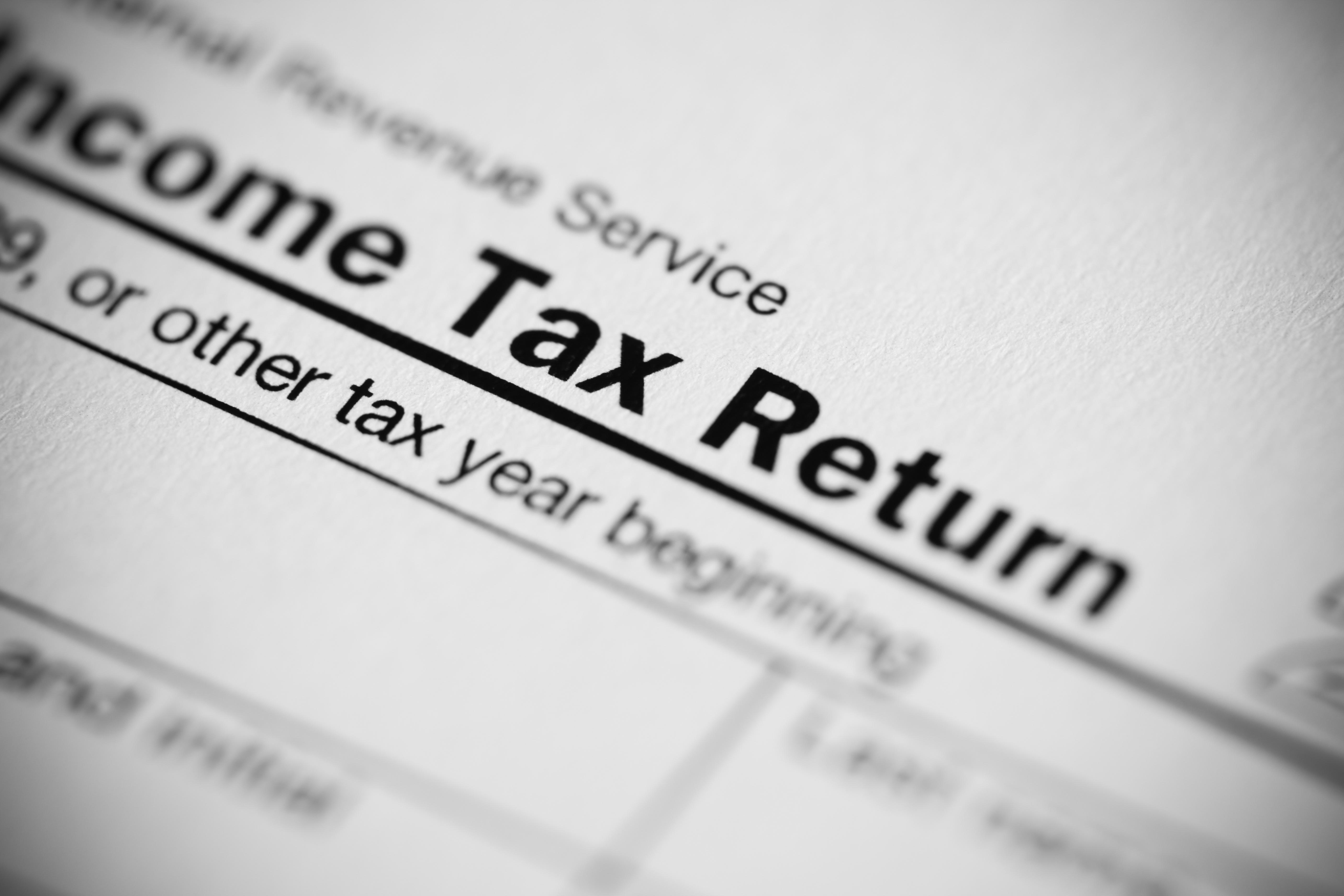 Tax Return Form close-up concept