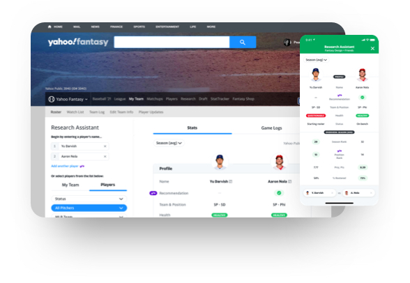 Yahoo Fantasy Plus example