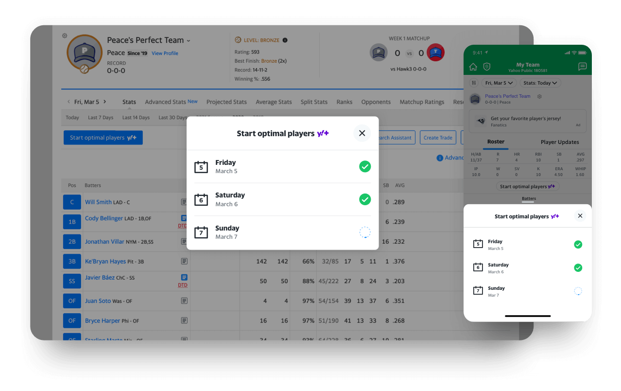 fantasy app start optimal players feature