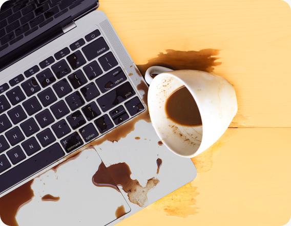 spilled coffee on laptop