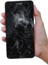 Cracked screen phone in hand