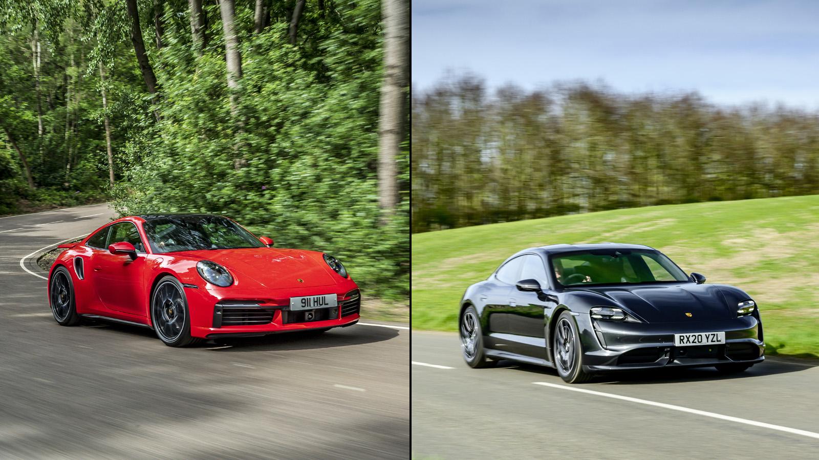 2021 Porsche 911 Turbo S Vs 2020 Porsche Taycan Turbo Performance 0 60 Driving Impressions Autoblog