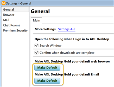 This image represents the General Tab from AOL Desktop Gold Settings.