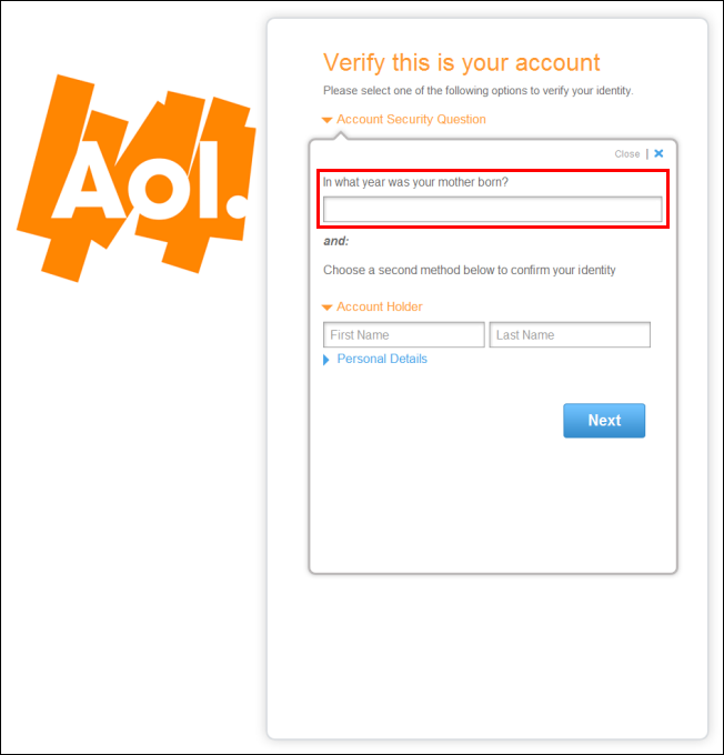 Account Security Question
