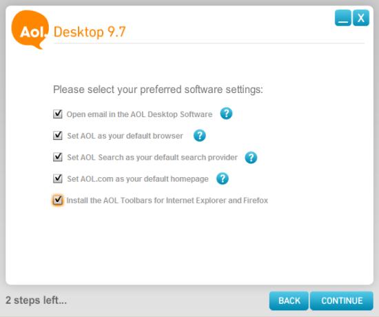Select preferred software settings for AOL Desktop 9.7