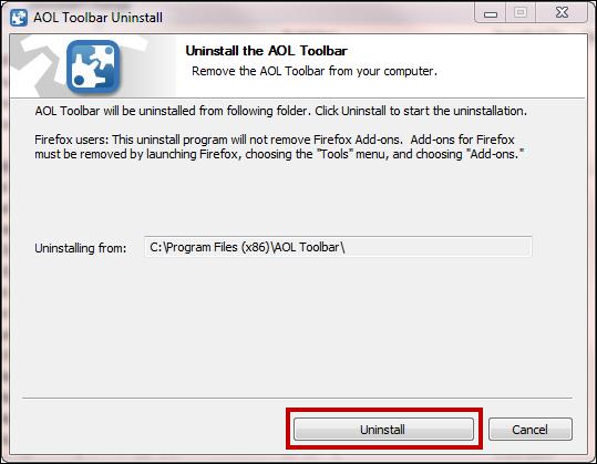 Uninstall the AOL Toolbar
