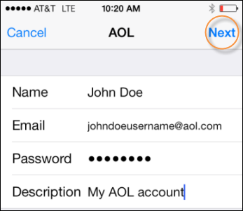Aol mail mobile mail aol help in the boxes provided enter your name aol email address password and a description of the account after youve entered your information sciox Gallery