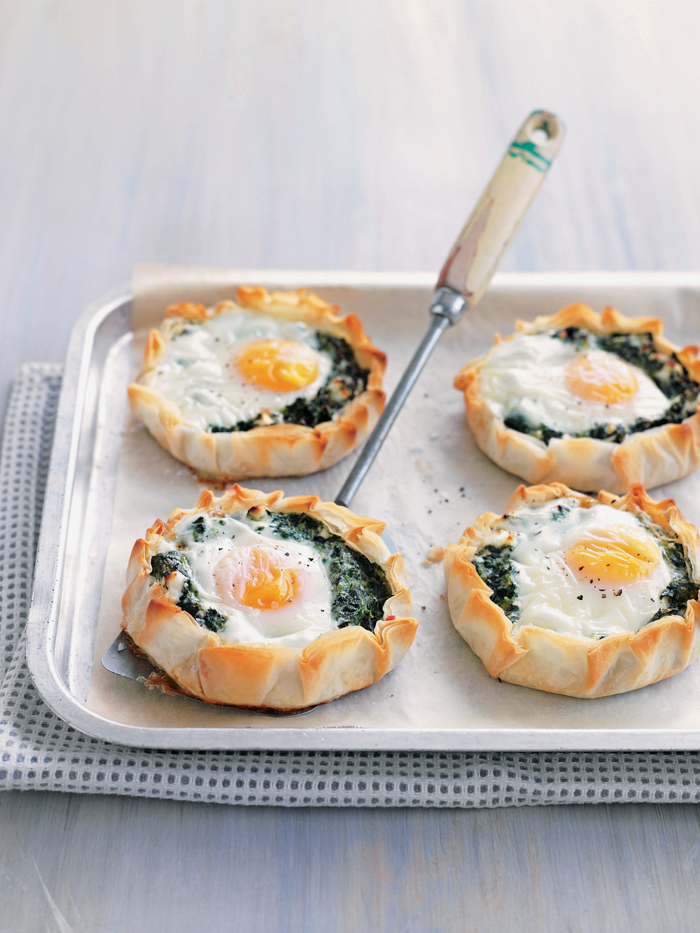 Freeform Spinach, Feta & Egg Tarts