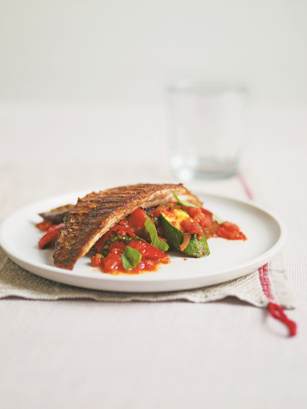 Grilled Red Mullet with Mediterranean Vegetable Sauce