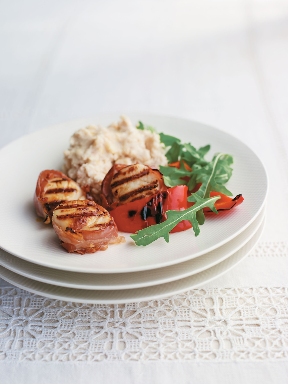 Prosciutto-Wrapped Scallops with Peppers and Bean Mash