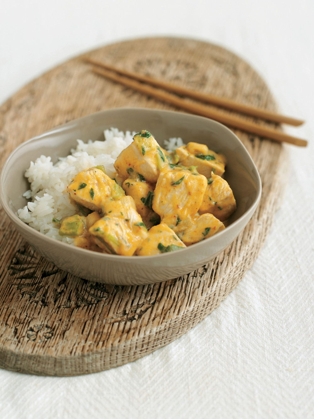 Poached Chicken with Thai Red Curry Sauce