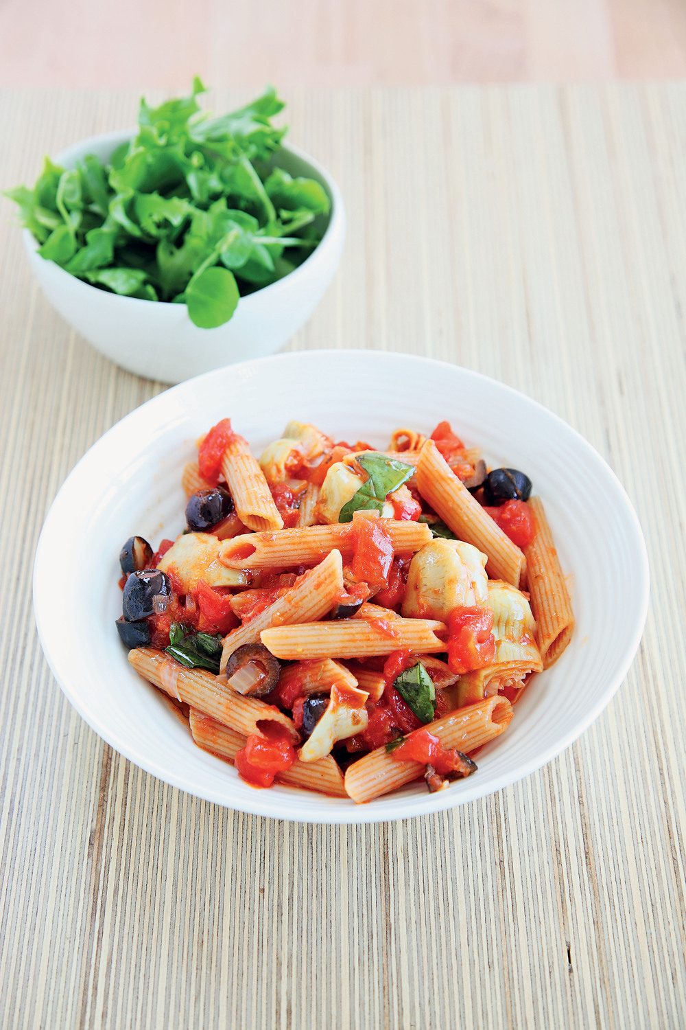 Wholewheat Penne in a Tomato, Artichoke and Olive Sauce