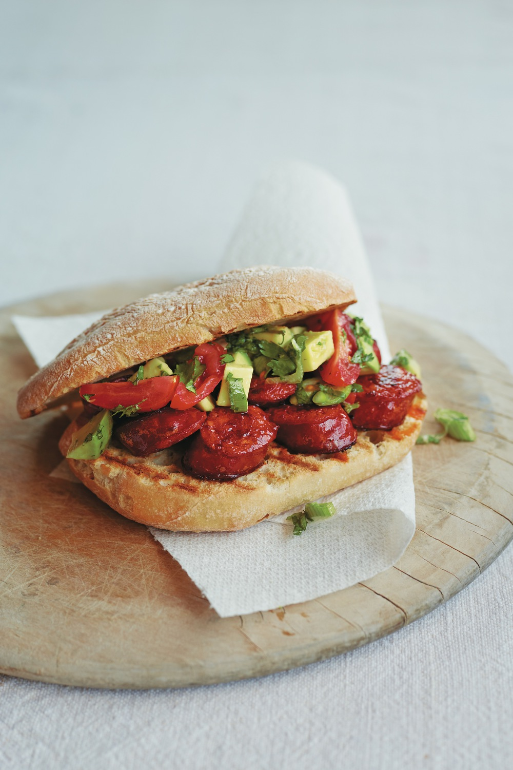 Spicy Sausage and Salsa Butty